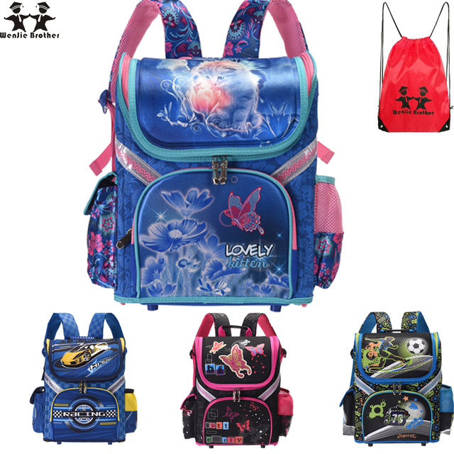 7ed2ebe21faf wenjie brother new Kids cat butterfly School bag Backpack EVA Folded  Orthopedic Children boy and girls backpack Mochila Infantil