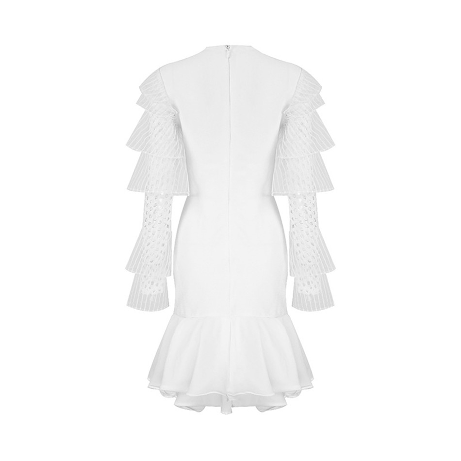 Creux Seamaly Robe Mode De Robes Cascade Gros Bandage Blanc Celebrity Nouvelle 2018 Ruches Party Piste Sexy Embelli Out rxwvnrUEq