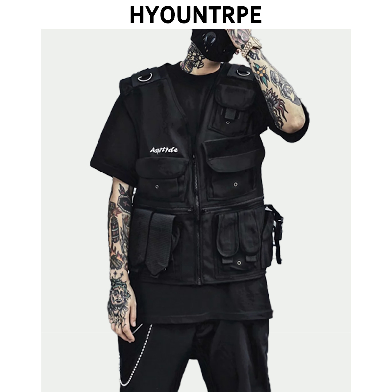 Hip Hop Sleeveless Vests Side Lace Up Cargo Waistcoat With Pockets Zipper Military Jacket Streetwear Tactical Vest Sweatshirts