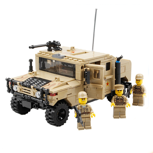 Kazi Model building kits compatible with lego city Military Hummer H1 926 3D blocks Educational toys hobbies for children