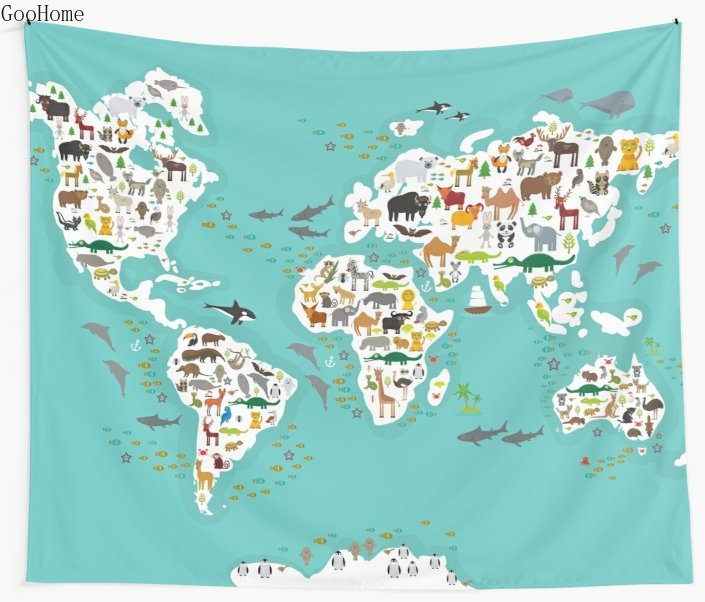 Cartoon Animal World Map For Children And Kids Wall Tapestry Beach Towel Polyester Blanket Yoga Shawl Mat