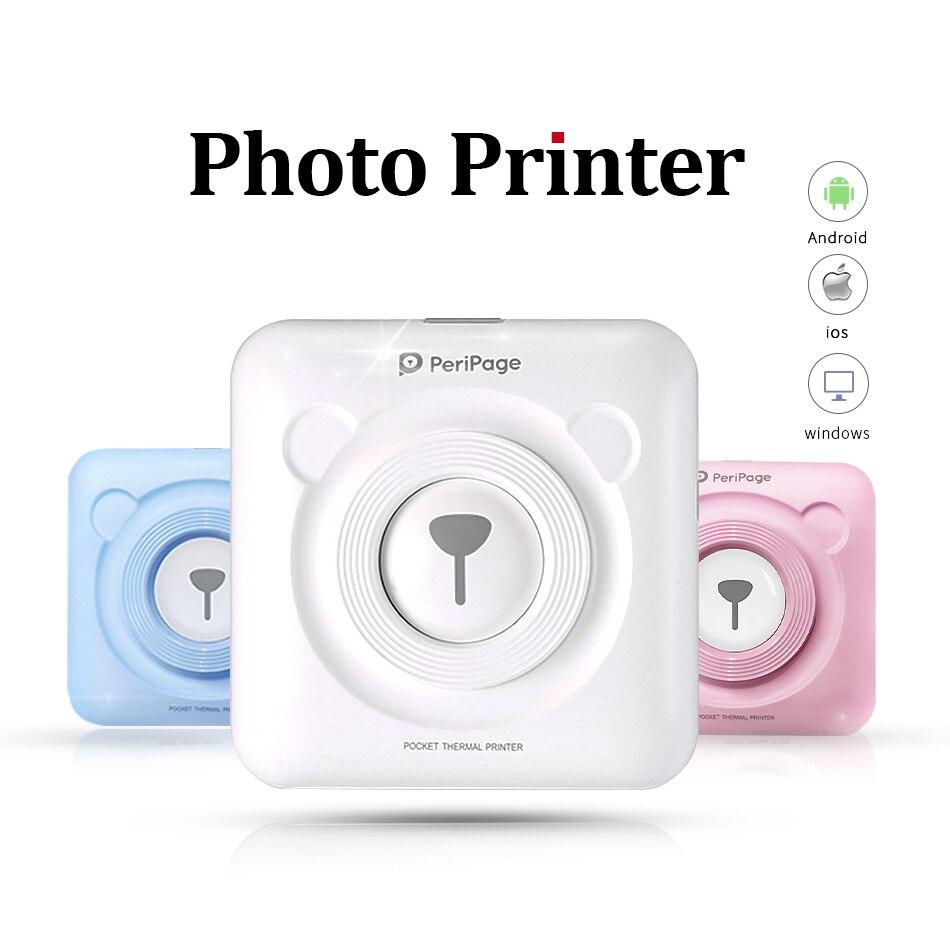 Bluetooth portátil Impressora de Bolso Foto 58mm Mini Sem Fio de Bolso Impressão Térmica USB Conexão de Impresoras Fotos