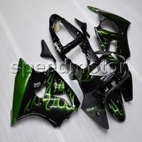 Пользовательские + винты литья под давлением зеленый пламя ABS крышка для ниндзя ZX 6R 2000 2002 ZX6R 2000 2001 2002 мотоциклов обтекателя