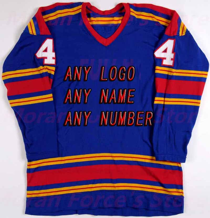 Wholesale OEM Brand Hockey Jerseys Team Design Embroidery Custom Mens Supplier Tackle Twill Kansas City Scouts Goalie On Sale dhl free shipping synthetic embroidery ice hockey jerseys wholesale