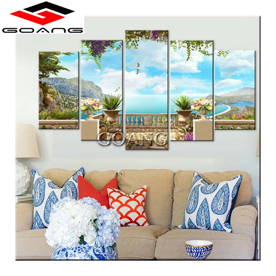 Novel Designs Selfless 5d Diy Diamond Painting 5pcs Cross Stitch Diamond Embroidery Natural Scenery Diamond Mosaic Paintings Decor Blue Sky Sea Garden Famous For Selected Materials Delightful Colors And Exquisite Workmanship