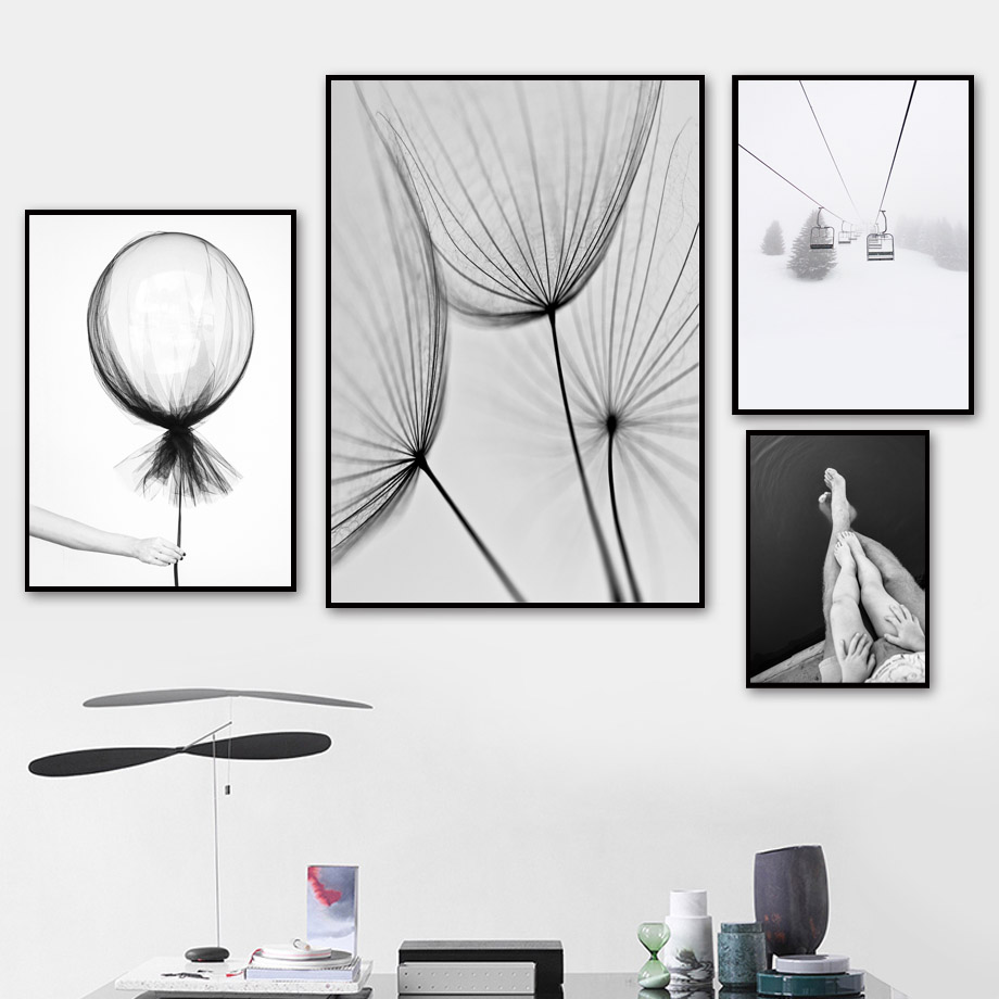 Balloon Cable Car Dandelion Wall Art Canvas Painting Nordic Posters And Prints Singer Boy Wall Pictures For Living Room Decor