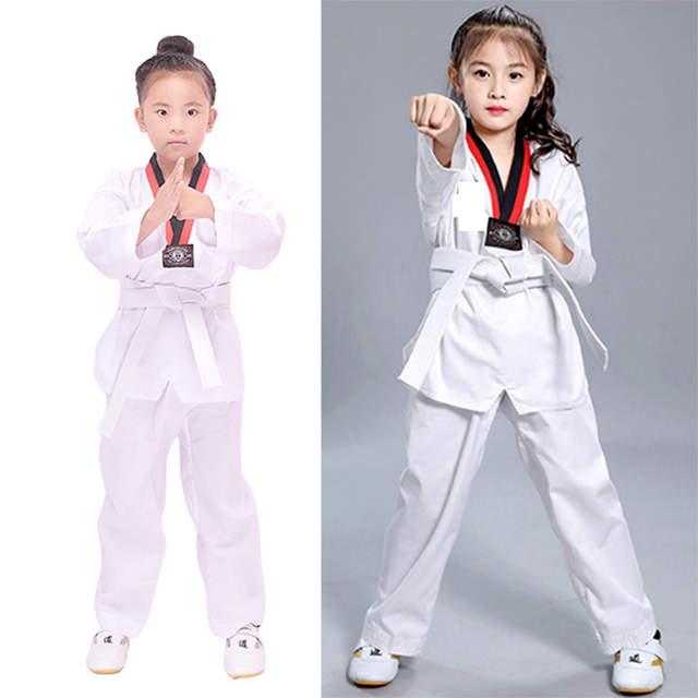 US $16 98 |Red Black V Neck White Karate Cotton Taekwondo Dobok Uniform WTF  Belt Wesing Protector Judo Equipment For Kids Adult Sauna Suit-in Other