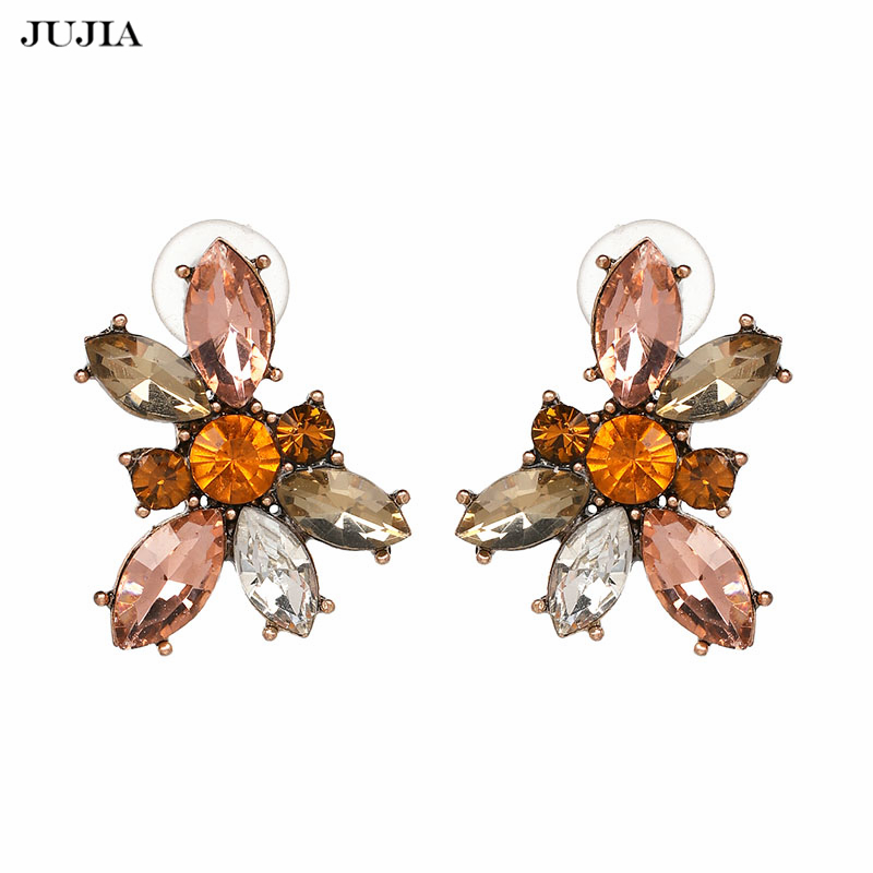 JUJIA Hot Sale Trendy Women Jewelry New Fashion Luxury Colorful Crystal Stud Earrings Brincos