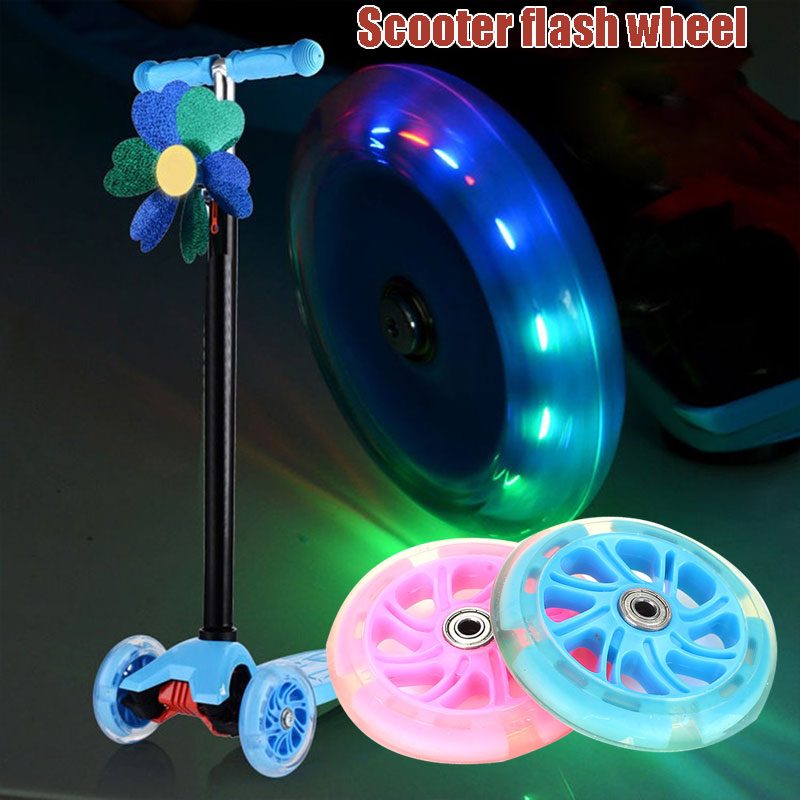 PU 2 Color Single Warping Slide Pulley Wheel Skateboard Wheel Scooter Wheel Portable Four Wheel Scooter Casters Durable Scooter