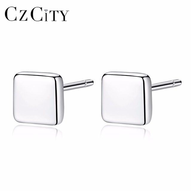 CZCITY Square Small Women Silver Stud Earrings for Women Simple Style Girl Miss Female Gift 2018 New Trendy Party Fine Jewelry