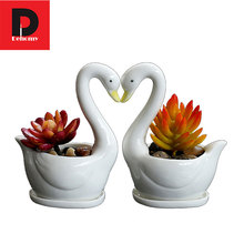 Dehomy 2Pcs/lot Swan Ceramics Flower Pot Simple And Creative Meat Plant With A Tray Microscopic Multi-flower Pots Garden Decor