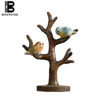 Pastoral Style Creative Bird Decoration Dresser Hang Accessories Natural Resin Tree Office Desktop Ornament Crafts Birthday