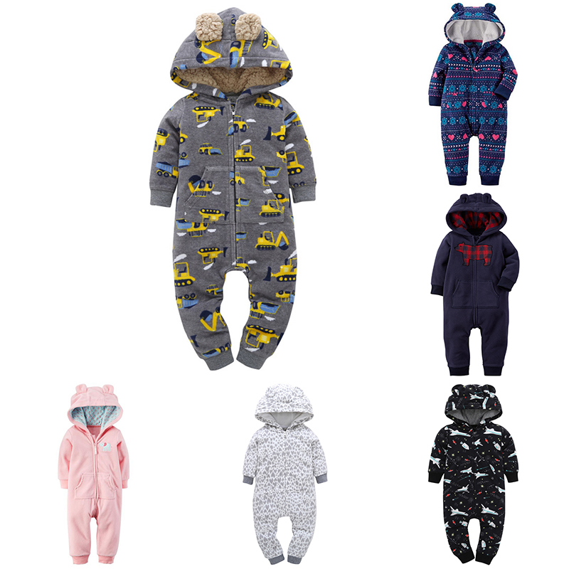 Baby Clothing 2018 Keep Warm Hooded Bebes Jumpsuit Cotton Newborn Infant Rompers Baby Girls Boys Clothes New Year's Toddler Cost 2017 new fashion cute rompers toddlers unisex baby clothes newborn baby overalls ropa bebes pajamas kids toddler clothes sr133