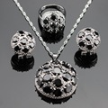 Round Black Created Sapphire Silver Color Jewelry Sets Necklace/Pendant/Earrings/Rings Christmas Gift For Women Free Box