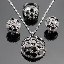 Ronda Negro Creado Sapphire Color Plata La Joyería Fija el Collar/Colgante/Pendientes/Anillos de Regalo de Navidad Para Las Mujeres Del Envío caja
