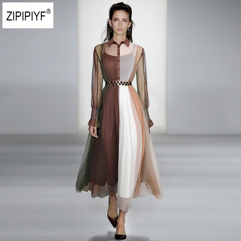 Office Ladies Splice Long Dress Women 2018New Fashion High Quality Elegant Turn Down Collar Mesh Contrast Color Belt Dress B1052