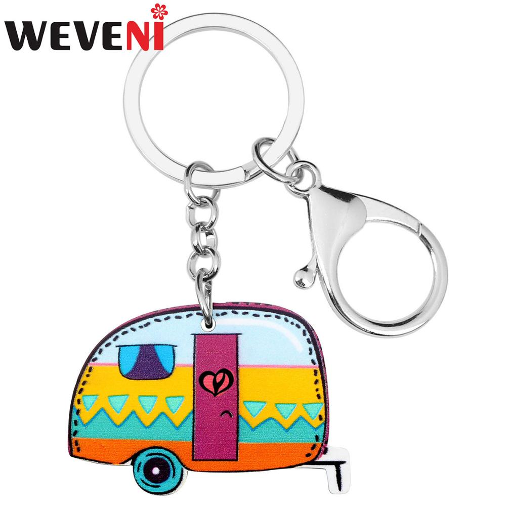 WEVENI Acrylic Cartoon Camp Car Key Chains Keychains Rings Colorful Novelty Jewelry For Women Girls Charms Gift Hot Sale New