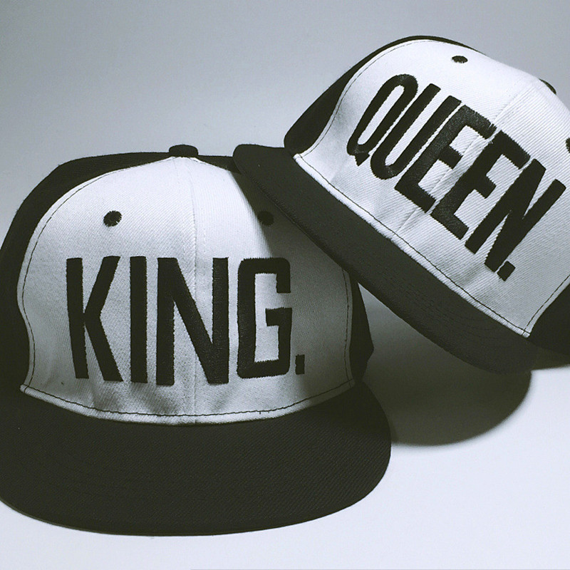 New 2017 Street Fashion King Queen Lovers Hip Hop Snapbacks Brim Straight Men Women Baseball Hat Casual Brand Dancer Chapeau