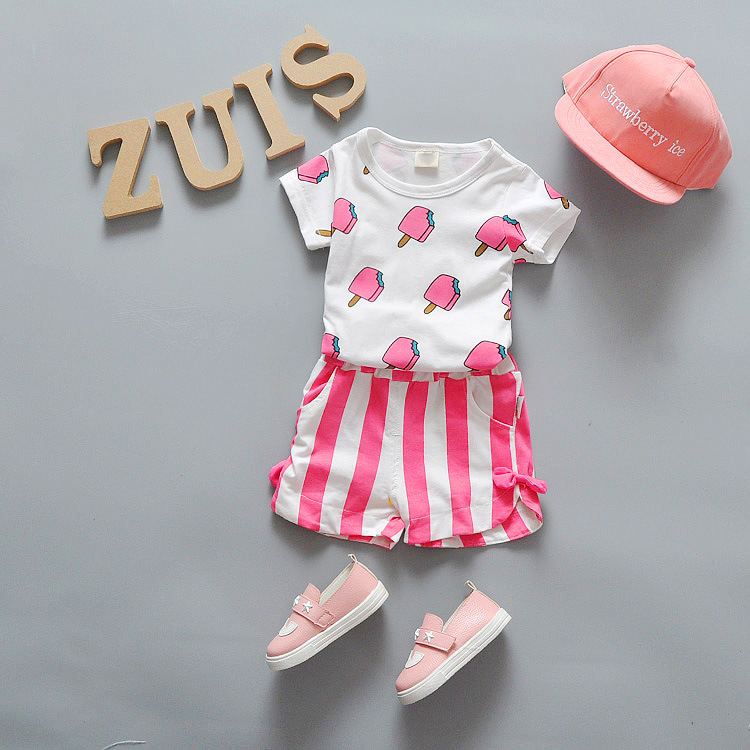 2016 Summer sweet Baby girl set printed T shirt+striped shorts Clothing Sets Baby Boy Casual Suits Girls Sets for toddlers