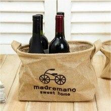 Fashion Linen storage basket linen bag  bicycle design 30*18cm free shipping