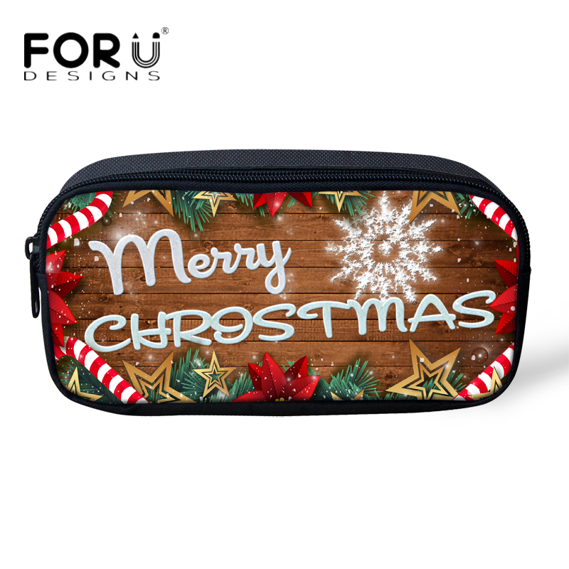 e3fd21c3c55b US $7.91 34% OFF|FORUDESIGNS Merry Christmas Mini Children Pencil Bags  Fashion Women Makeup Bag Cosmetic Cases Girls Boys School Pen Bags Gifts-in  ...