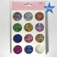 1set/12boxes mini Pentagram thin Paillette Shiny Nail Art Glitters Sequins  Nail Tip Dust Powder Manicure Nail Art Decorations