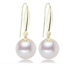 Hot Freshwater Pearl Earrings For Women White Round Earring Hook 18K Gold Natural 9.0-10.0mm 10.0-11.0mm