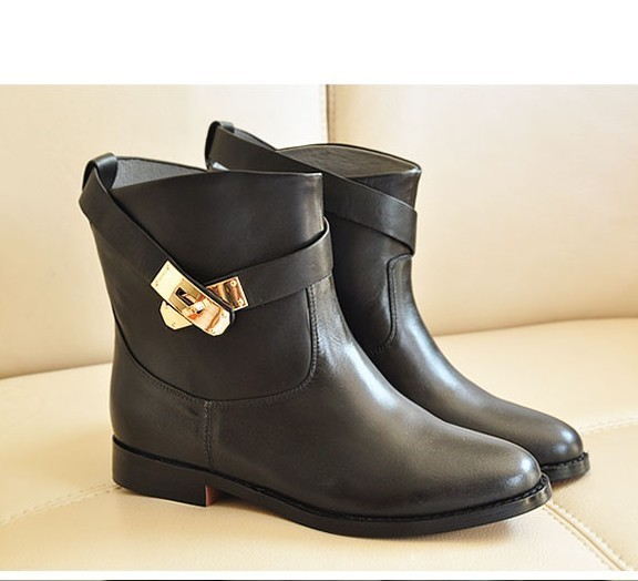 New designer winter women's Fashion classic Shoes Black buckle ...