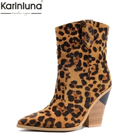 Brand leopard Fashion plus Size 33 46 Vintage 10cm high Heels mid calf Boots Women Shoes Shopping Western boots Shoes Woman