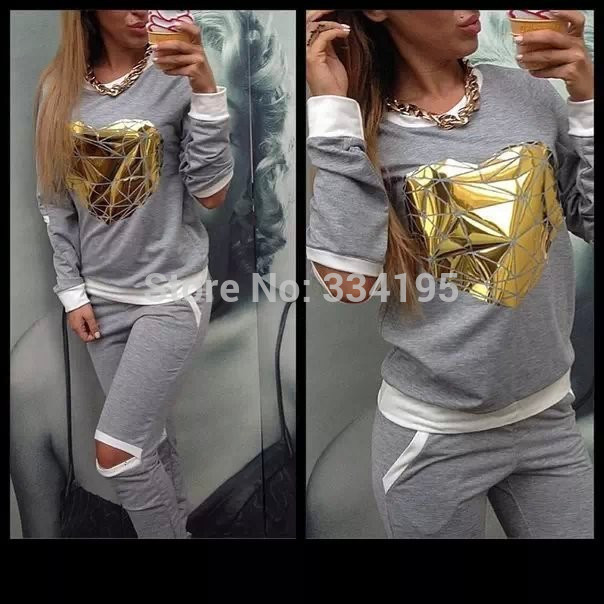 woman 39 s tracksuit brand sweatshirt pants one set woman 39 s clothing gray sports suit golden heart tracksuits ports costumes in Hoodies amp Sweatshirts from Women 39 s Clothing