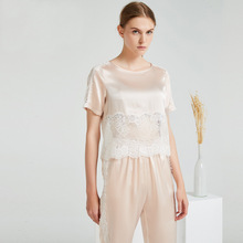 Nineteen Mm Heavy Silk Fashion Lace Nightwear Suit Classic Sexy Short Sleeve Housewear for Women