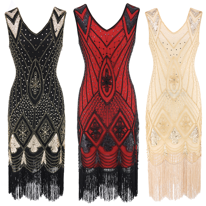 factory Women's 1920s V Neck Beaded Fringed Gatsby Theme Flapper Dress Prom evening party halloween costume dress