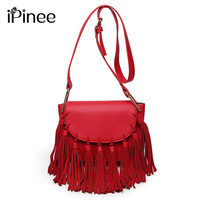 iPinee 2017 New Arrival Fashion PU Leather Women Bag Tassel Small Shoulder Bags Ladies Summer Messenger Bags