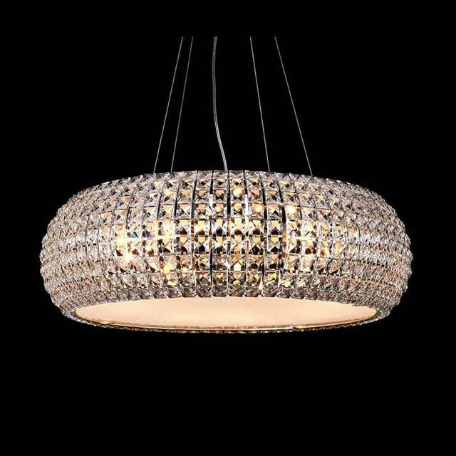 Modern Led Crystal Pendant Light Dining Room Shops Restaurant Decoration Chrome Fixture Home Rope Hanging Lamp110-220V
