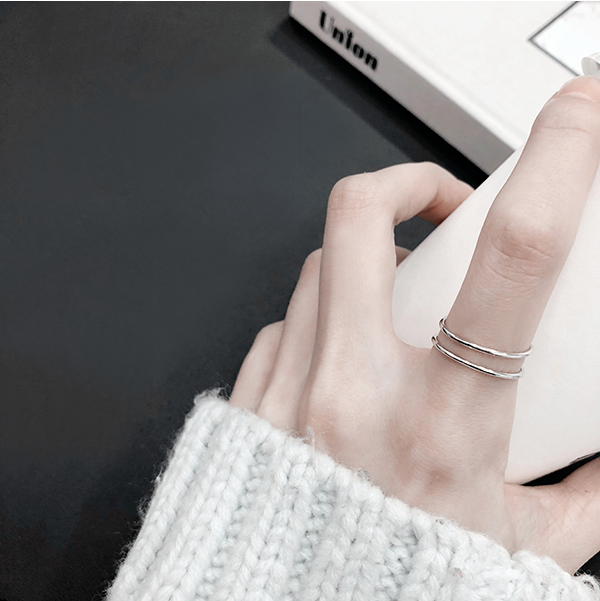 Laramoi 925 Sterling Silver Creative Geometric Simple Double Rings For Women Charm Jewelry Adjustable Ring Gift For Girls Teens