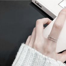 Laramoi 925 Sterling Silver Creative Geometric Simple Double Rings for Women Charm Jewelry Adjustable Ring Gift Girls Teens