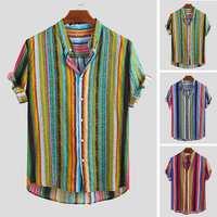 INCERUN 2019 Men's Shirt Summer Short Sleeve Stand Collar Fashion Stripe Print Small Fresh Male Loose Casual Streetwear Camisas