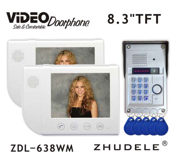 ZHUDELE Home Security 8.3 Display Wired Video Door Phone Intercom doorbell & Night Vision 700TVL HD FRID Camera Waterproof Cove