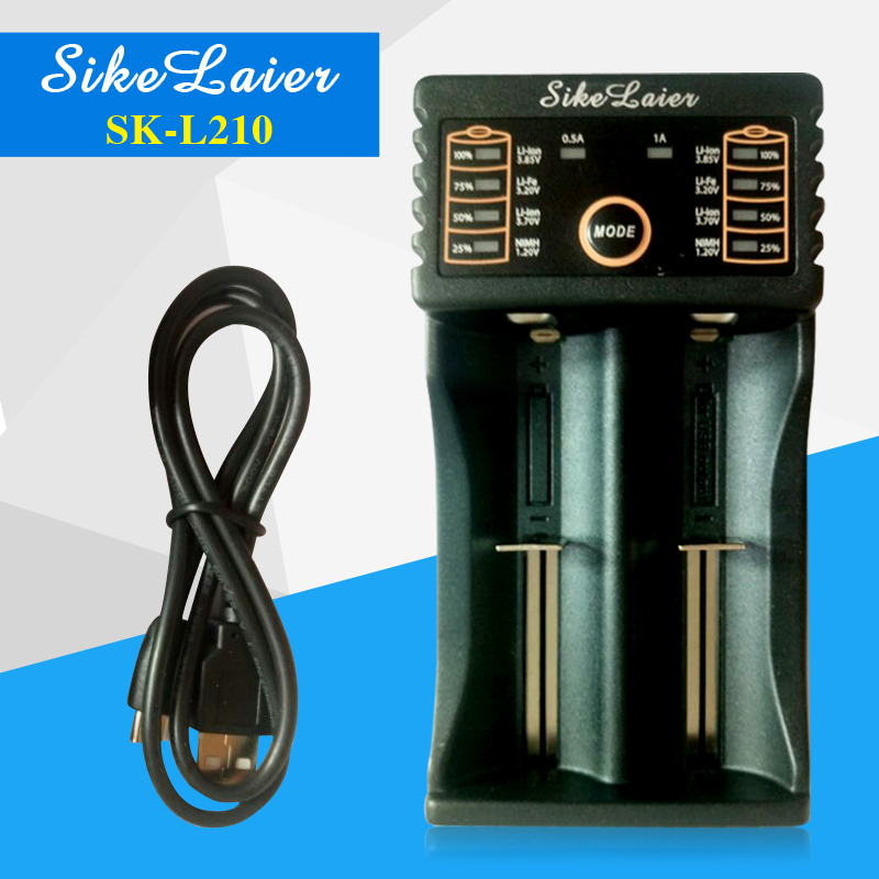 SiKeLaer SK-L210 Charger 18650 1.2 3.7 3.2 3.85The AA/AAA 18350 26650 10440 14500 16340 25500 lithium battery smart charger NiMH