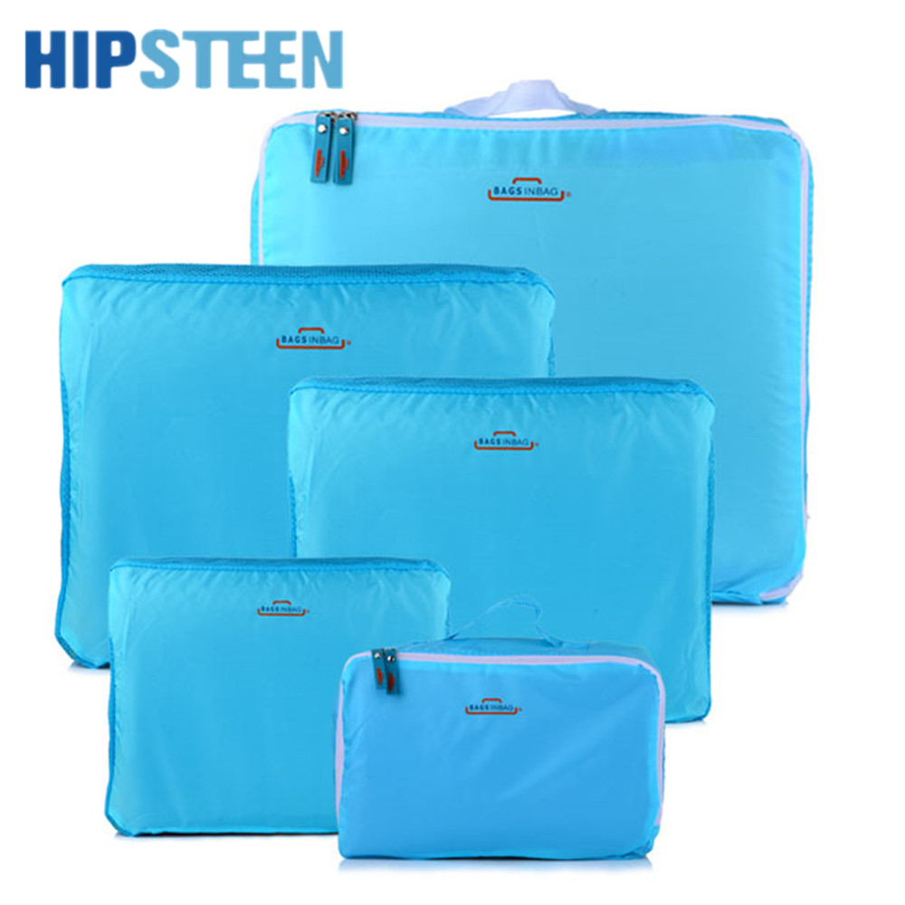 HIPSTEEN 5PCS/Set Brand Unisex Traveling Bag Packing Cubes Hot Sale Luggage Clothes Storage Bag Organizer Cases Pouch Suitcase