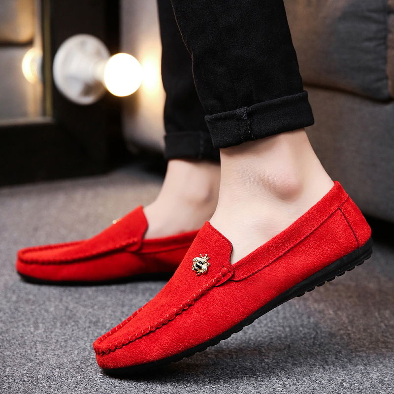 Juyouki Natural Cow Suede Bees Men's Casual Shoes Alligator Style Men Loafers Slip on Lazy Shoes Wiht Male Outdoor Shoes 3