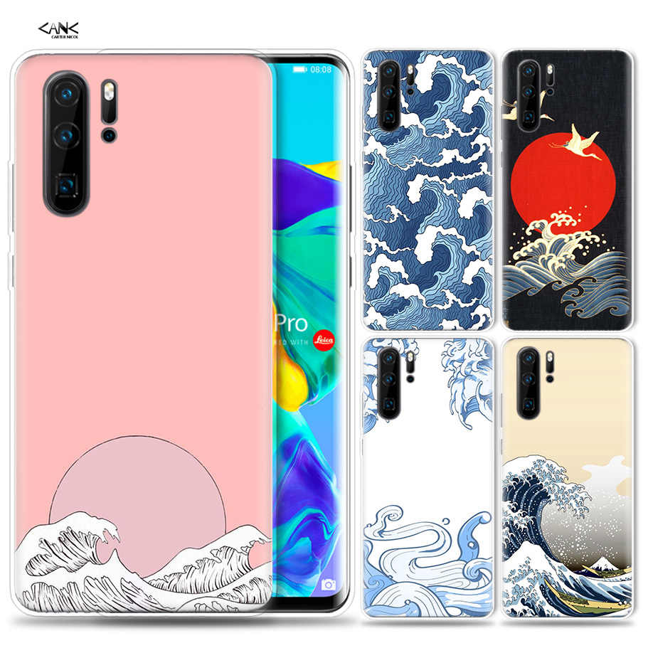 Case for Huawei P30 P20 P10 P9 Mate 10 20 Lite Pro Mobile Cell Phone Bag P Smart Z 2019 Plus Wave Art Japanese Green Illust P8 P