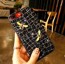 ФОТО brand new luxury bee case for samsung galaxy a8 note 8 s9 s8 plus iphone x 8 7 6 6s se 5 5s lady bling glitter phone case cover