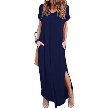 Y Nidus Women's Dress Sex Sundress Summer Beach Long Dress Women's Casual Pocket Short Sleeve Split Loose Maxi Dress vestidos