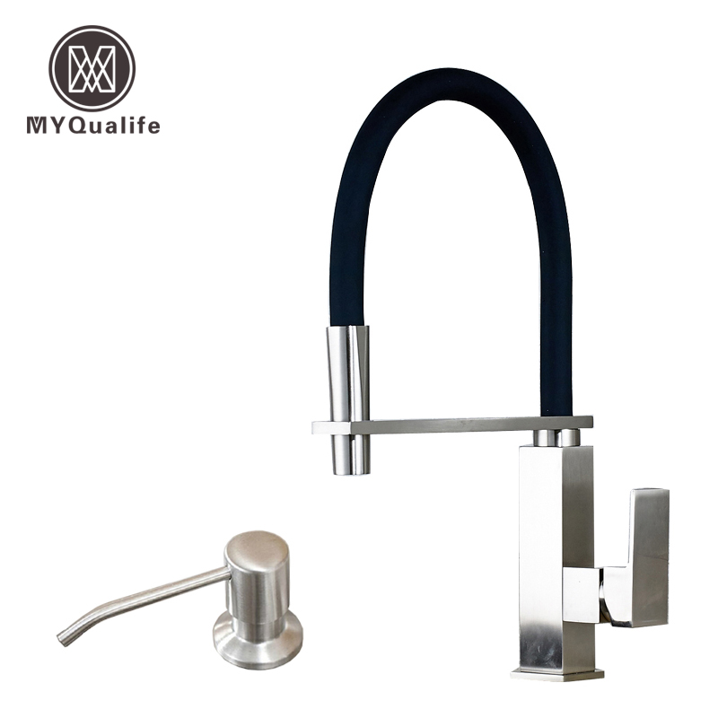Good Quality Brushed Nickel Kitchen Faucet Mixer Taps with Holder Bar Deck Mounted Single Handle hole
