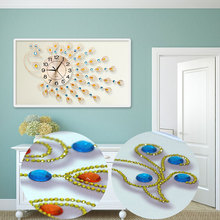 5d Needlework Diamond embroidery Diamond Painting special diamond peacock Home decoration Picture rhinestone wall clock cuadros