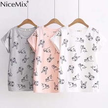 NiceMix 2019 Summer Kawaii Cartoon T Shirt Women Tops Print Rabbit Female Harajuku Causal Cotton Short Sleeve T-shirt
