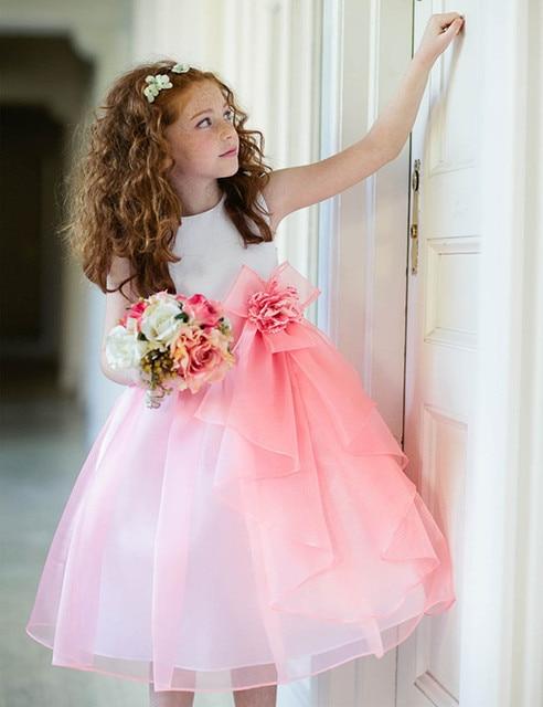 Vestidos Pageant Dresses Short Ball Gown Zipper Kids Flower Girls Formal Dress for Wedding Party