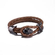 Cool Punk Rock Male Wide Wrap Bracelet Metal Skull Studded Rivet Bracelet Vintage Adjustable Rope Wrap Bangles Jewelry Pulseira