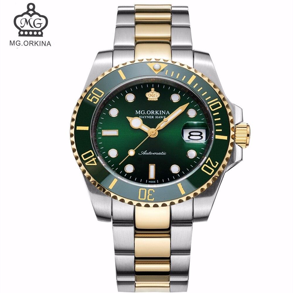 MG. ORKINA horloge hommes 3ATM étanche automatique mécanique montre-bracelet japon Movt Auto Date montre bracelet relogio masculino de luxo